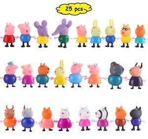 PEPPA PIG 25 FIGURE PERSONAGGI CARTOON HEROES KIDS PVC