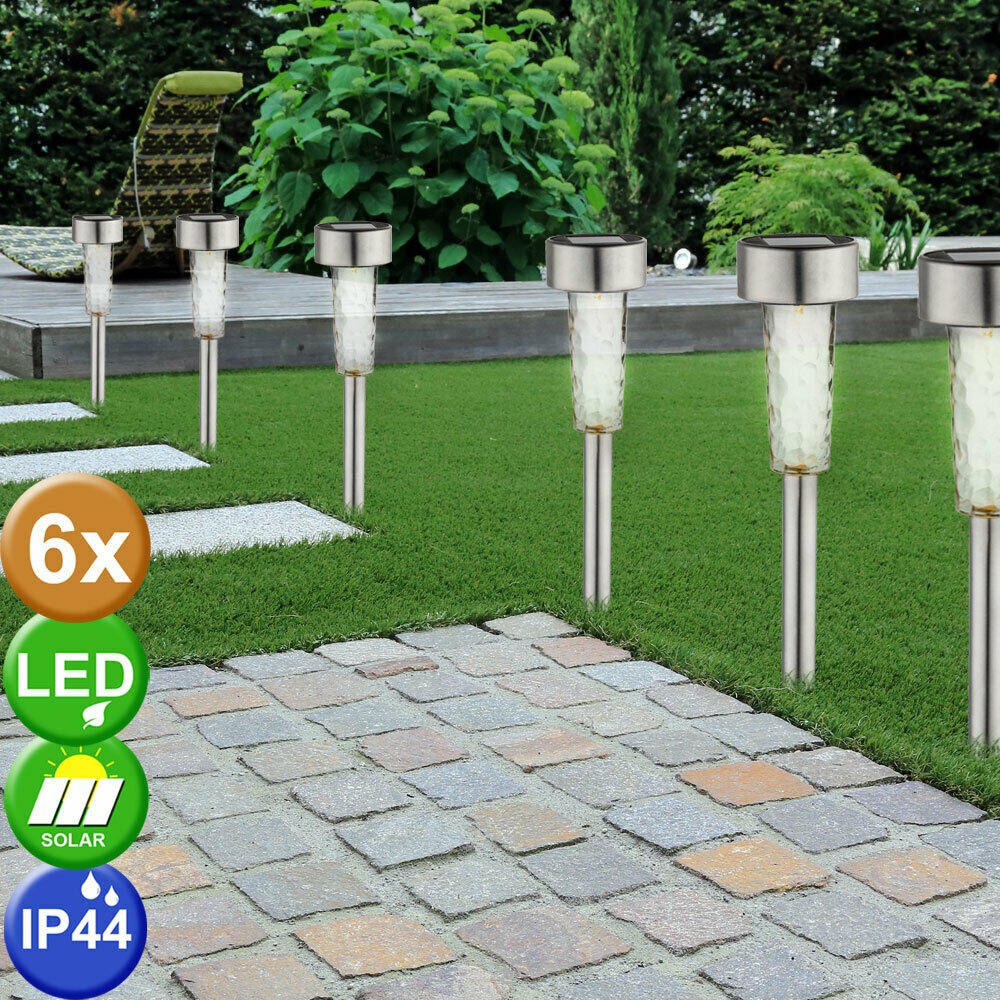 6 x lampe solaire LED borne à piquer inox IP44 jardin terrasse luminaire DEL