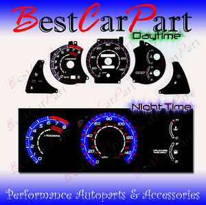 BLACK-94-99-Celica-GT-ST-w-150-MPH-INDIGLO-GLOW-BLUE-WHITE-EL-REVERSE-GAUGES