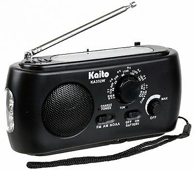 Kaito KA332W Emergency Solar Hand Crank AM/FM Weather Radio with Flashlight BLK