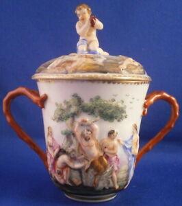 Antique 19thC Richard Ginori Doccia Porcelain Lidded Cup Porzellan Tasse Italy