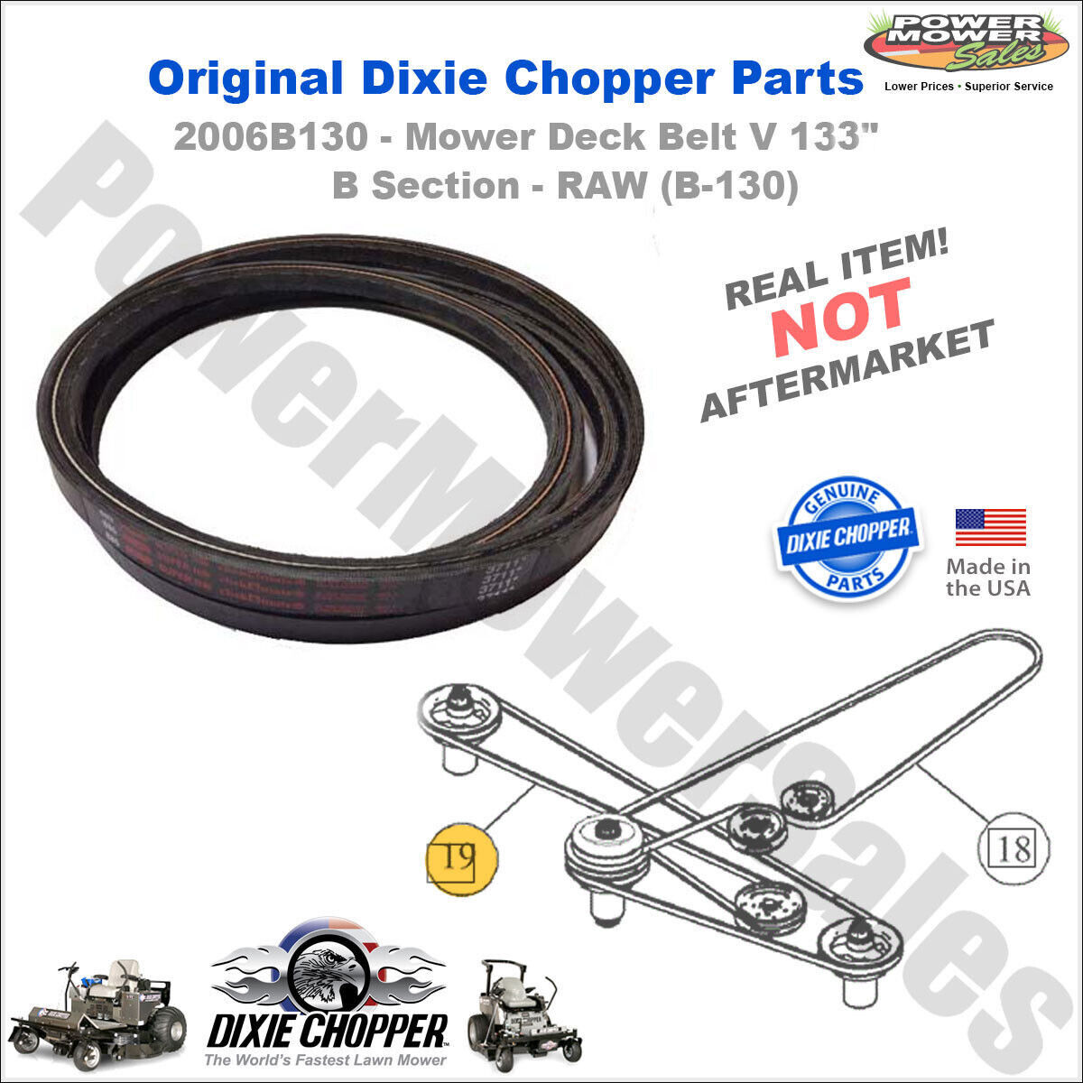 DIXIE CHOPPER 2006B85W made with Kevlar Replacement Belt