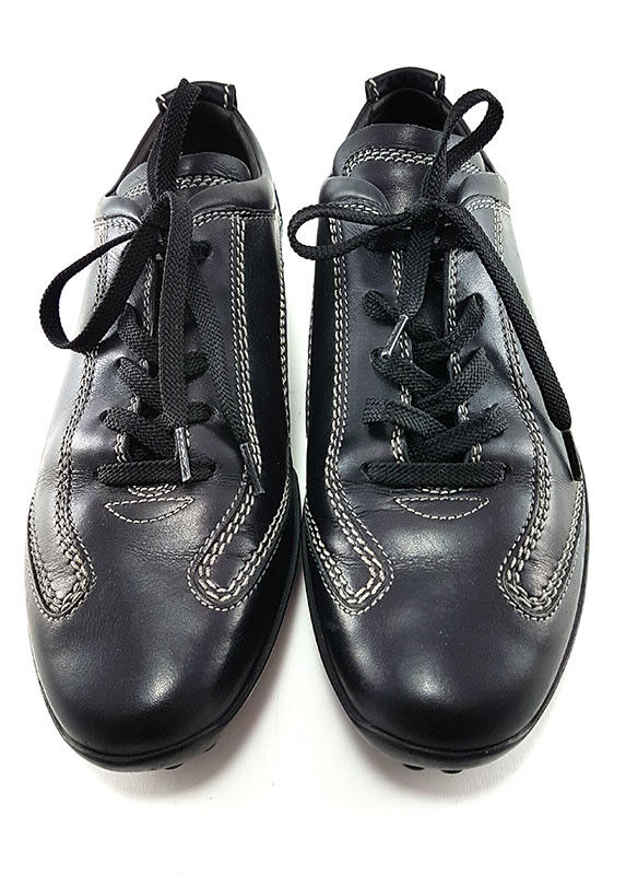 TOD'S Black Leather Lace-up Sneakers, Women's Shoes Size US 7 /