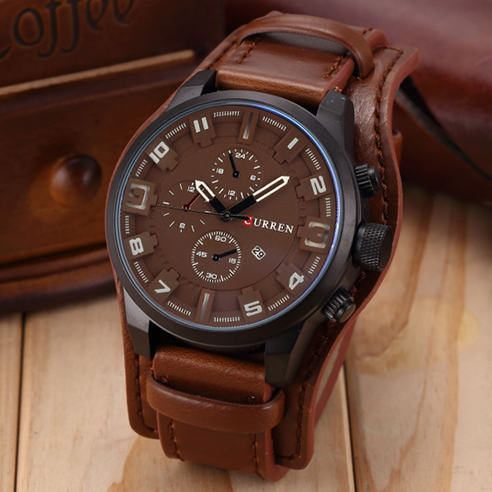 Curren men date stainless steel leather analog quartz sport wrist watch 8225 for Curren watches