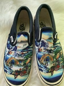 991eca343d RARE Vans Classic Slip On Japanese Koi Fish blue waves Canvas Shoes ...