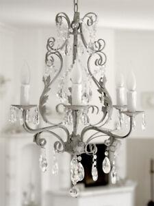 kronleuchter shabby grey 6 armig antik grau hellgrau eisen mit kristallen chic ebay. Black Bedroom Furniture Sets. Home Design Ideas