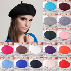 Womens Ladies Floppy Hat Plain Beret Wool Warm French Beret Soft ... 8c5b00ab796