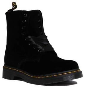152e0eefcae Dr Martens 1460 Pascal Velvet Women Lace Up Black Ankle Boots UK ...