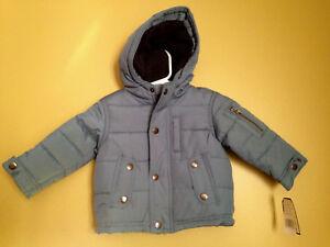 2dd6369ad6cd7 NWT OshKosh B Gosh Baby Boy Unisex Blue Winter Coat Hooded Jacket 12 ...