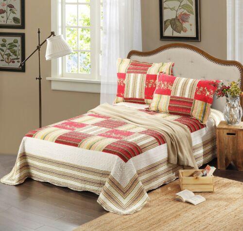 Tache 3PC Striped Red White Checkmate Coverlet Bedspread Multi Bedding Set