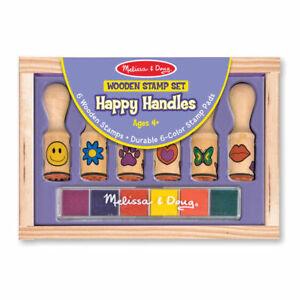 Melissa-amp-Doug-Happy-Handle-Wooden-Stamp-Set-amp-Rainbow-Pad-Kids-Art-amp-Craft-Toy