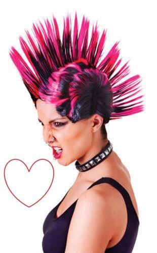 pink black wig mohican fancy dress accessory costume rock punk