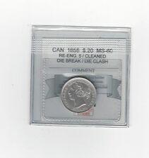 **1858 Re-En 5**, Coin Mart Graded Canadian, 20 Cent, **MS-60**Clnd Die Br/Clash