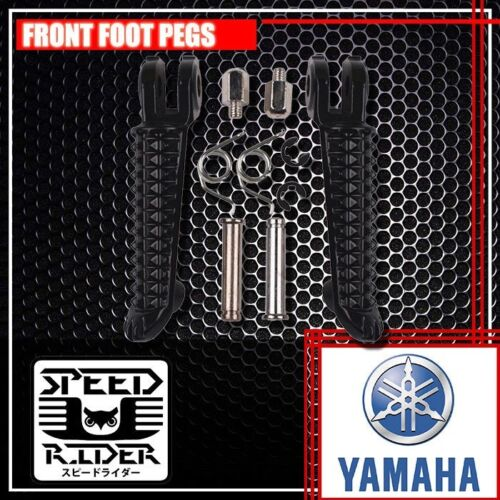 BLACK FRONT+REAR FOOT PEGS ALUMINUM RIDER DRIVER SET FOR YAMAHA YZF-R1 YZF-R6