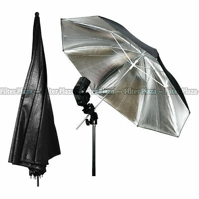 33 83cm Photography Pro Studio Flash Reflector Black Silver Umbrella