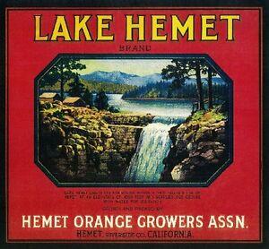 Hemet Riverside California Vista Bonita Orange Citrus Fruit Crate Label Print