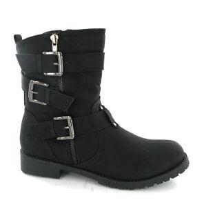 Soft Black Fashion Ankle Style Buckle Zip Womens Biker Boots UK3-8