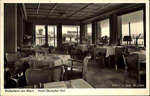RUDESHEIM-Rhein-AK-1954-Hotel-Deutscher-Hof-Innenannsicht-Gasthaus-Gastraum