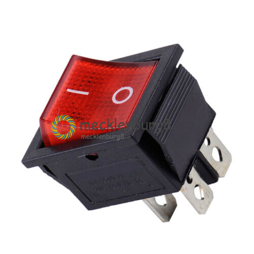 5Stks KCD4 Rocker Boat Switch 25*31MM DPST 4P Terminals ON//OFF 16A 250V w//light