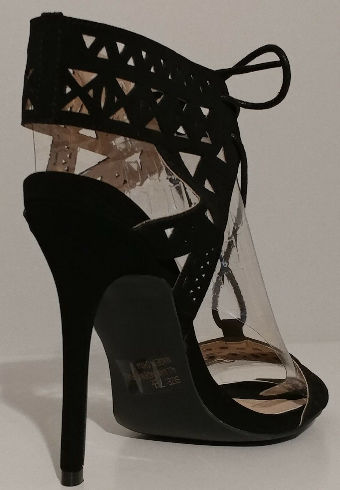 NEW     Qupid Black Suede Sandals 5  Heels Size 7.5M US 37.5M EUR 0defdd