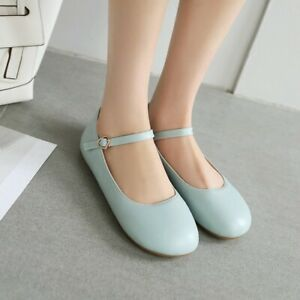 Women-Flat-Heel-Mary-Janes-Pumps-Round-Toe-Casual-Comfort-Strap-Campus-Girl-Shoe