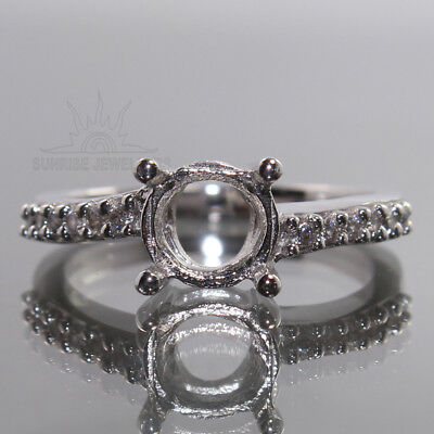 7mm Round CZ Semi Mount Ring Choose Sizes 925 Sterling Silver Wholesale Supplier