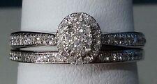 14k White Gold Oval Halo Vintage Antique Diamond Wedding Bridal Set Ring Band