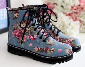 Talón Militares Azul Flores Cómodo Mujer Cm 1 8761 Botas wtAOCqC