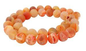 Drusenachat-Perlen-orange-Achat-10-mm-Kugeln-z-T-mit-Drusen-Kristallen