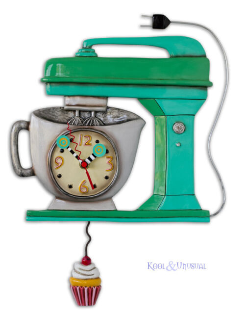 Funky GREEN VINTAGE MIXER Cafe Designer Wall Clock by Allen Designs