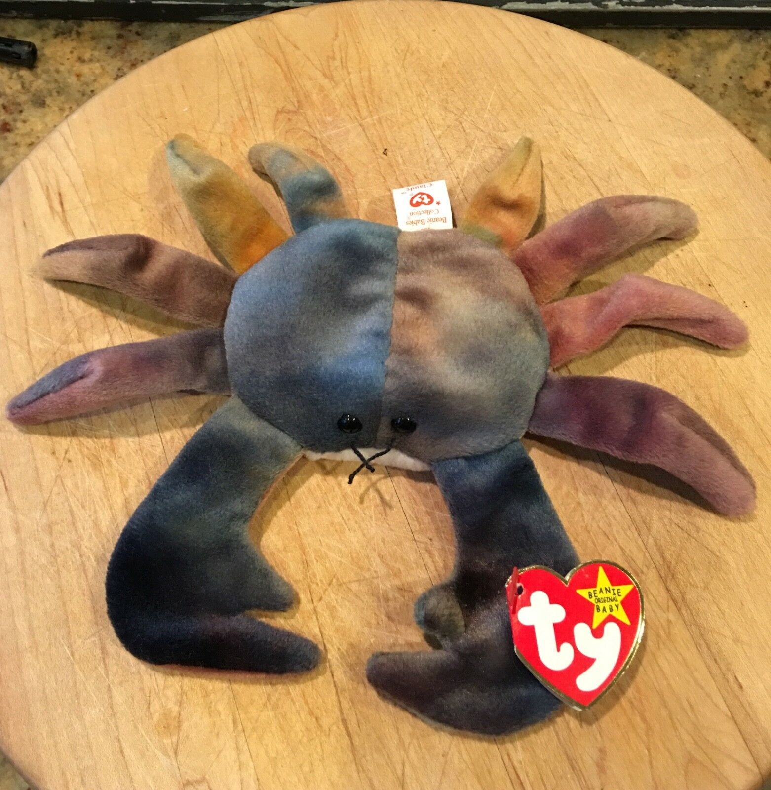 1996 TY Beanie Baby CLAUDE The Crab,  TAG ERRORS   – RARE    Flash 50%off
