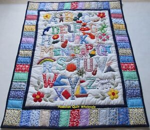 Hawaiian style ABC quilt baby crib blanket hand quilted wall ... : abc quilt - Adamdwight.com