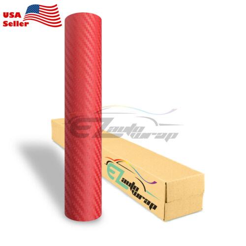"""4/""""x8/"""" Sample 3D Matte Red Carbon Fiber Textured Car Vinyl Wrap Sticker Decal"""