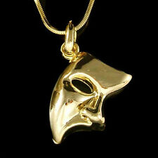 The Phantom of the Opera Broadway Masquerade Mask Unisex Gold PL Charm Necklace