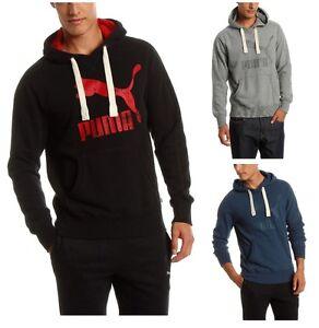 New-Men-039-s-PUMA-Heritage-Logo-Hoodie-Sweatshirt-Jumper-Black-Blue-Grey-Hooded-Top