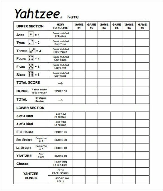 Breathtaking image intended for yahtzee printable score cards
