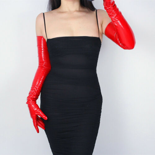 """TECH LONG GLOVES Faux Leather PU 28/"""" 70cm Evening Hot Shine Red Patent Leather"""