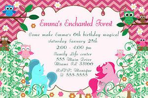 30 enchanted forest invitation owl unicorn girl birthday party