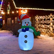 Homcom LED Weihnachtsmann Schneeman aufblasbar Weihnachtsdeko beleuchtet Deko