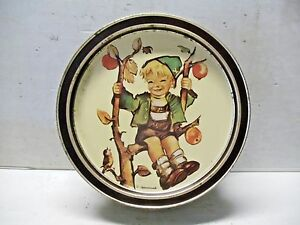Old-Vintage-Tin-Hummel-Cookie-Tray-Container-Apple-Tree-Girl-Boy-1984
