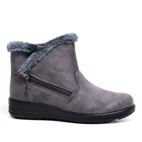 LADIES CUSHION WALK WINTER CASUAL FAUX SUEDE FUR LINED ZIP COMFORT ANKLE BOOTS