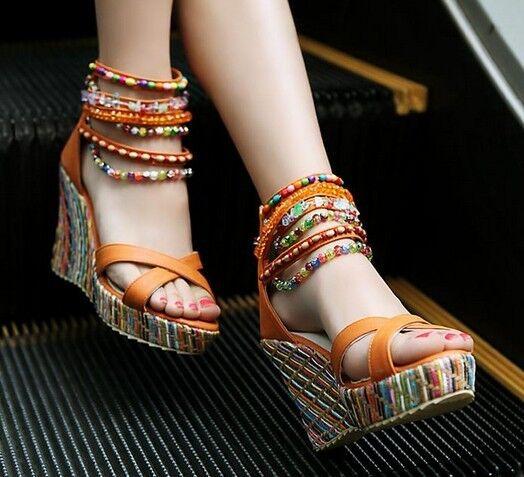 Eleganti sandali   a zeppa zeppa zeppa 9,2 cm disp in 4 colori  cm 8269 85e686