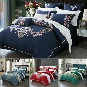 Cotton Embroidery Floral Duvet Doona Quilt Cover Set Queen King Size Bedding Set