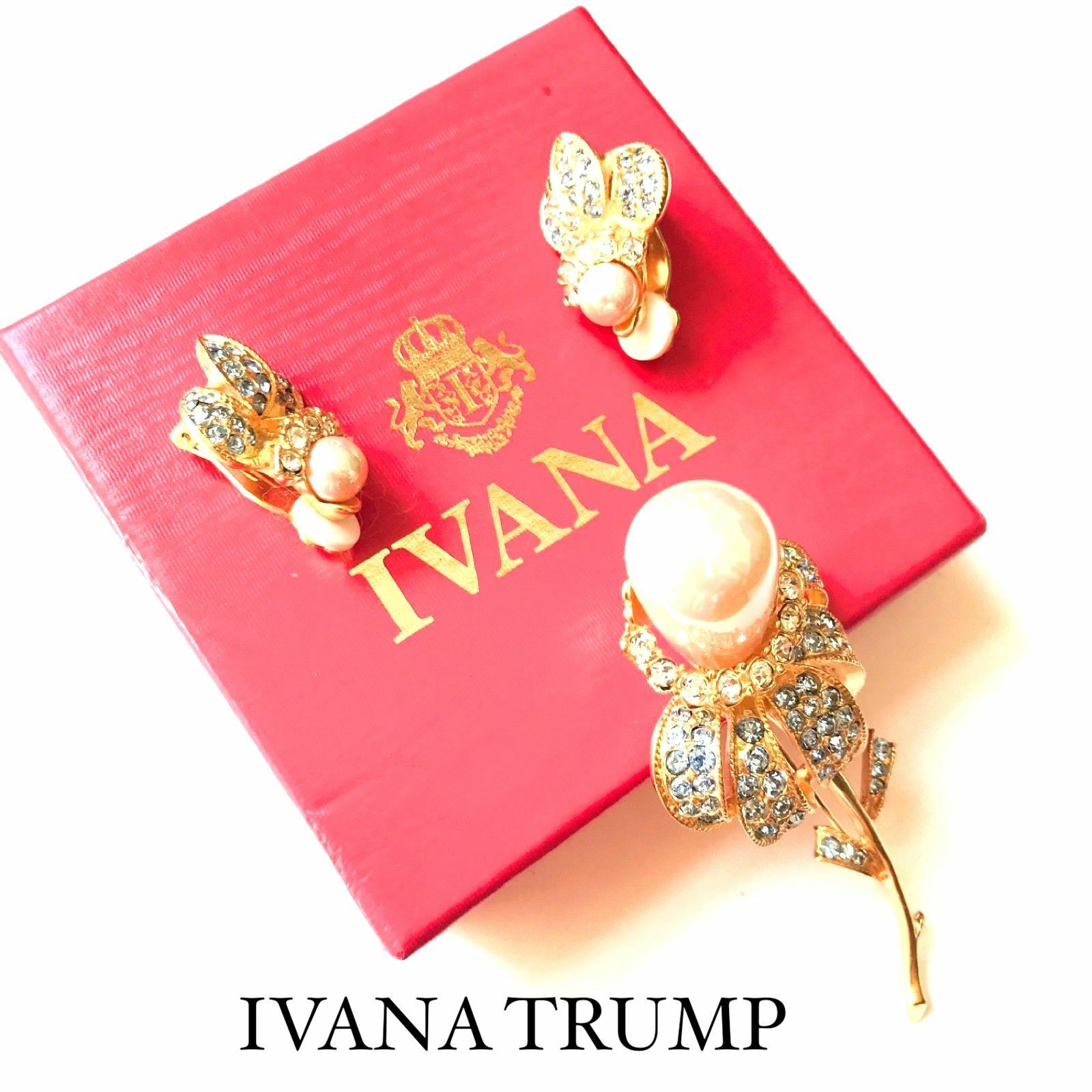 IVANA TRUMP ( DONALD TRUMP ) PEARL AQUAMARINE CRYSTAL  gold EARRINGS BROOCH PIN