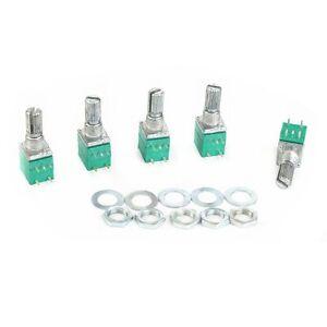 5X-ALPS-B100K-RK097-AMPLIFICATORE-AUDIO-SIGILLATO-DUAL-Potenziometro-15mm-ALBERO-5-Pin