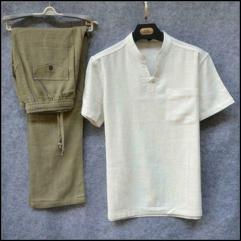 Mens Loose fit Casual Casual Casual 2 Pcs Suits Cotton Linen Tops Pants Set Elastic Größe Tee d8d
