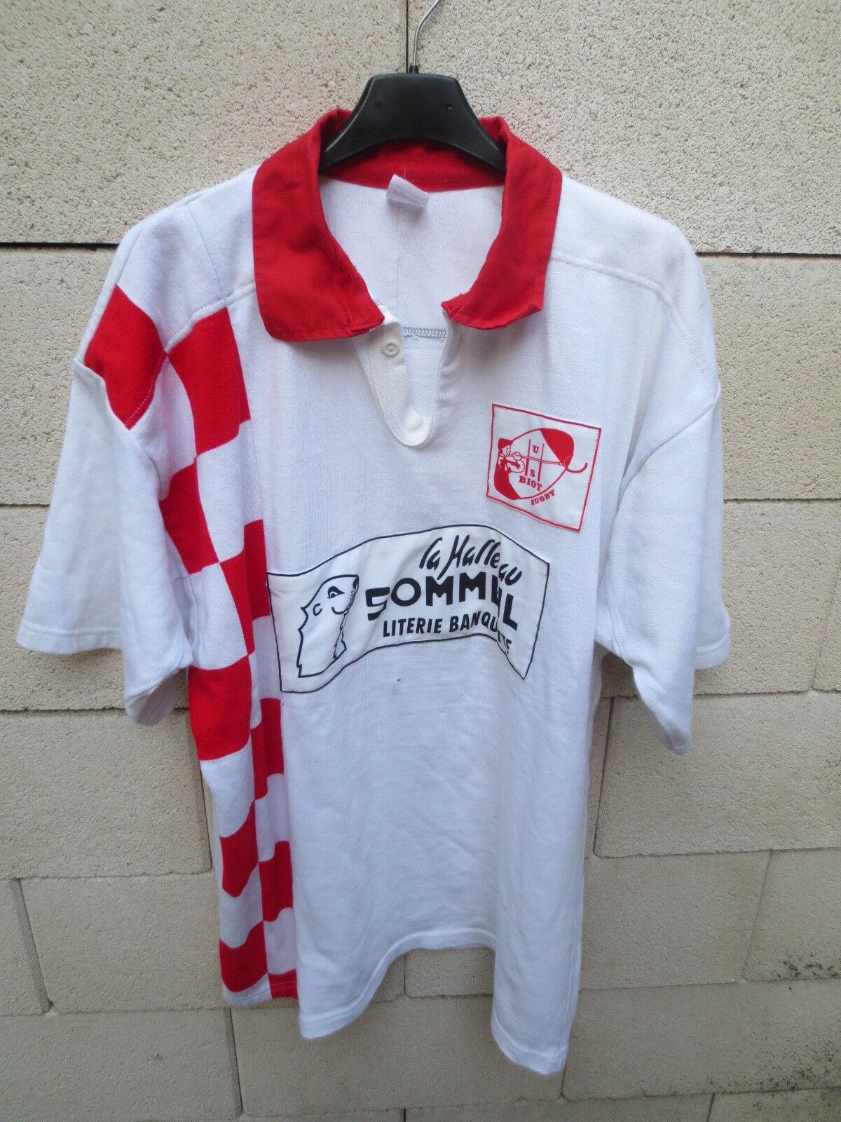 VINTAGE Maillot rugby porté n°23 n°23 porté U.S BIOT damier shirt made in France blanc XXL 34f0d7
