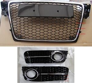 rs4 style grill fog light cover for 09 11 audi a4 b8. Black Bedroom Furniture Sets. Home Design Ideas