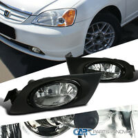 2001-2003 Fit Honda Civic 2/4dr Clear Fog Lights Driving Bumper Lamp W/ Switch on sale