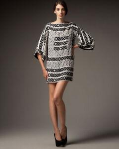 Diane Von Furstenberg DVF Black and White Pallavi Printed Shift Dress Size 4
